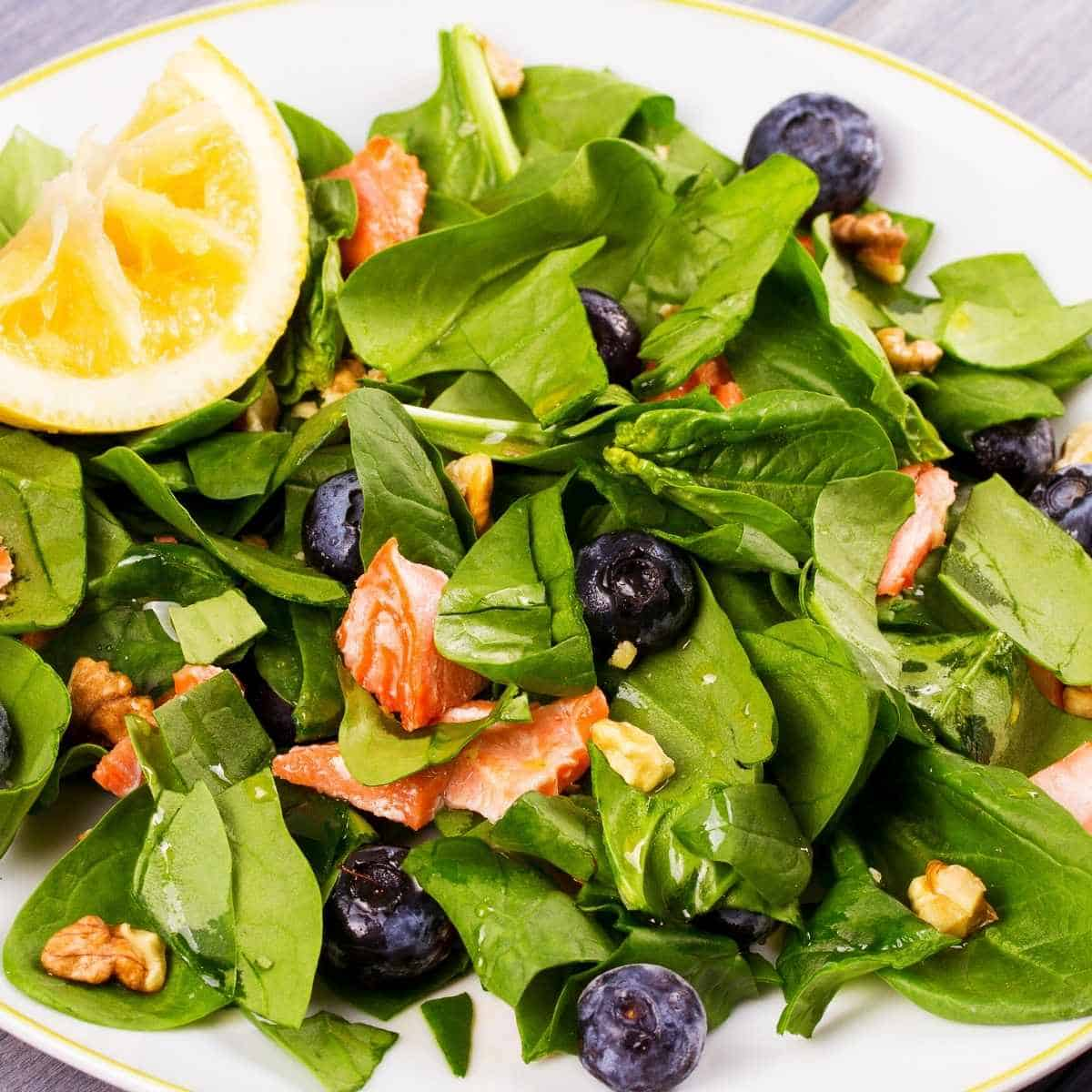 spinach salmon and bluberry salad - How to Fix Whole Body Aches on Keto: Advice from a Nutritionist
